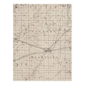 Mapa del condado de Rush Postales