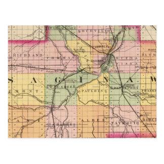 Mapa del condado de Saginaw, Michigan Postales