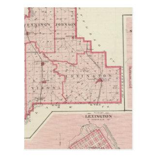 Mapa del condado de Scott con Lexington, Postales