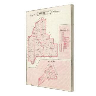 Mapa del condado de Scott con Lexington, Scottsbur Lienzo Envuelto Para Galerias