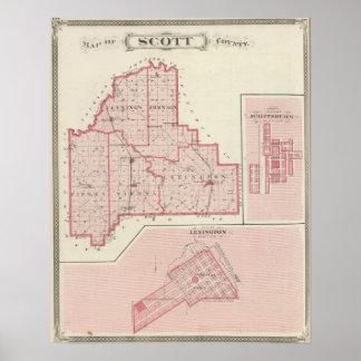 Mapa del condado de Scott con Lexington, Scottsbur Póster