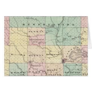 Mapa del condado de Shawano, estado de Wisconsin Tarjetón