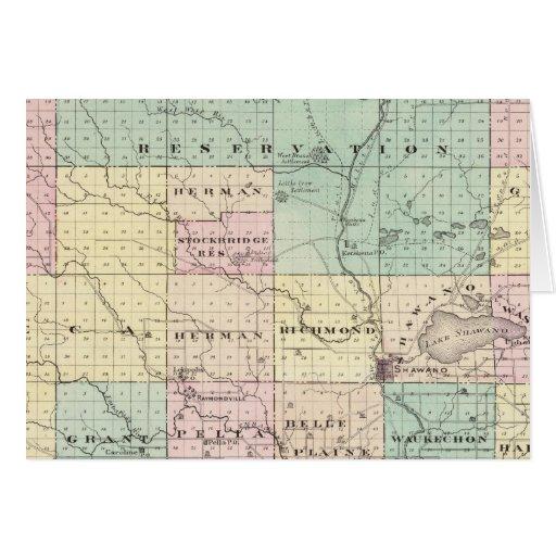 Mapa del condado de Shawano, estado de Wisconsin Tarjeta De Felicitación