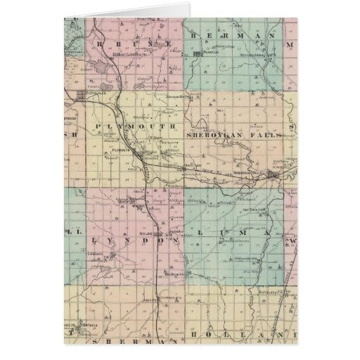 Mapa del condado de Sheboygan, estado de Wisconsin Tarjeta