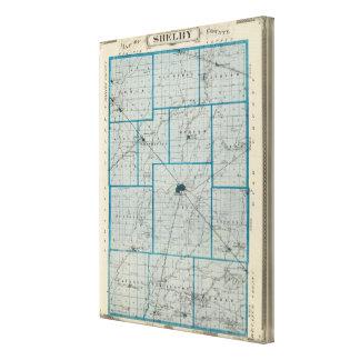 Mapa del condado de Shelby Lona Envuelta Para Galerías