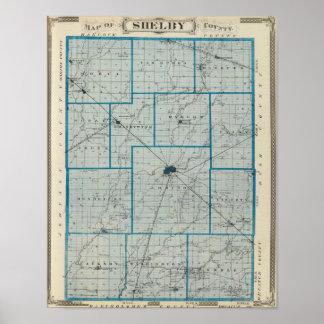 Mapa del condado de Shelby Impresiones
