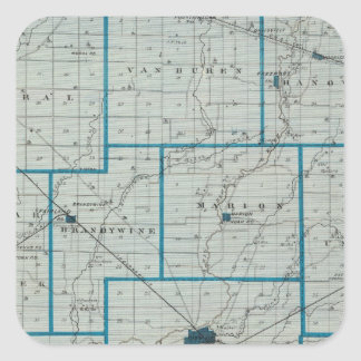 Mapa del condado de Shelby Calcomanía Cuadrada Personalizada