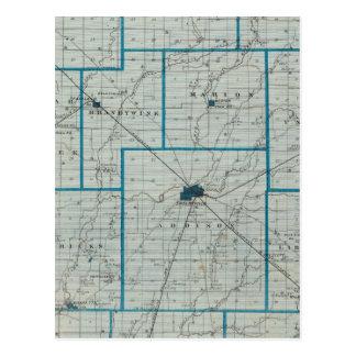 Mapa del condado de Shelby Tarjetas Postales