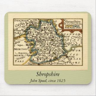 Mapa del condado de Shropshire, Inglaterra Alfombrillas De Raton