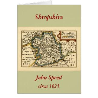 Mapa del condado de Shropshire, Inglaterra Tarjeta De Felicitación