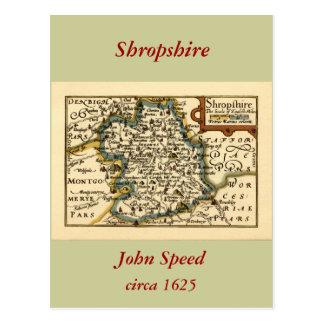Mapa del condado de Shropshire, Inglaterra Tarjeta Postal