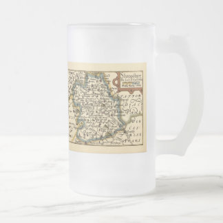 Mapa del condado de Shropshire, Inglaterra Taza Cristal Mate