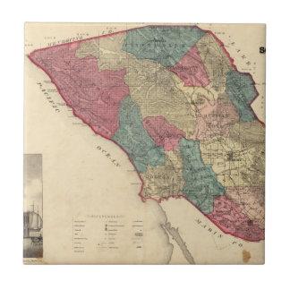Mapa del condado de Sonoma California Azulejo Cuadrado Pequeño