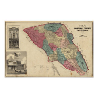 Mapa del condado de Sonoma California Impresiones