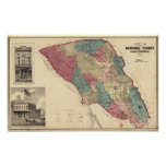 Mapa del condado de Sonoma California Póster