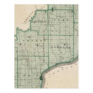 Mapa del condado de Spencer Tarjetas Postales