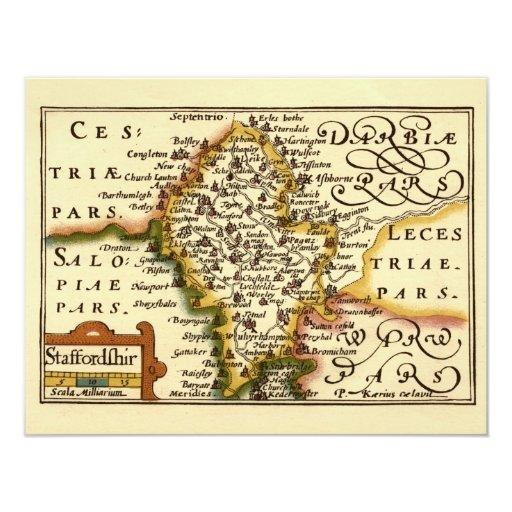"""Mapa del condado de Staffordshire, Inglaterra Invitación 4.25"""" X 5.5"""""""