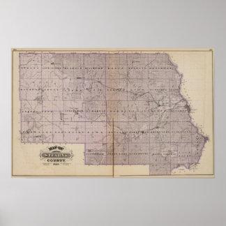 Mapa del condado de Stearns, Minnesota Póster