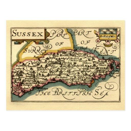 Mapa del condado de Sussex, Inglaterra Tarjetas Postales