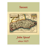 Mapa del condado de Sussex, Inglaterra Tarjeta Postal