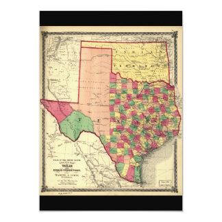 """Mapa del condado de Tejas y del territorio indio Invitación 5"""" X 7"""""""