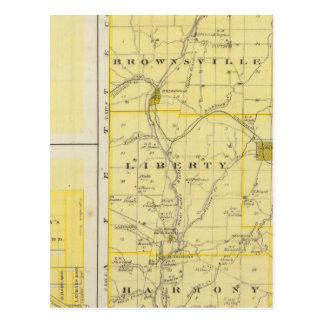Mapa del condado de Union con Brownsville, Postales