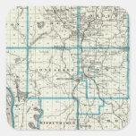 Mapa del condado de Union Pegatina Cuadrada