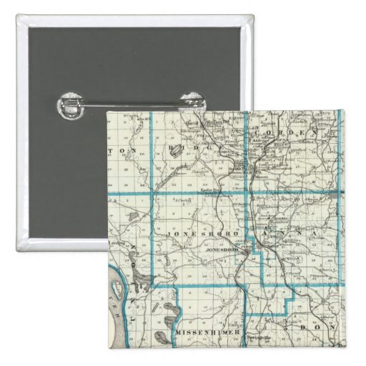Mapa del condado de Union Pin Cuadrada 5 Cm