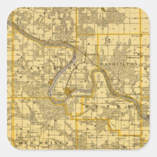 Mapa del condado de Van Buren, estado de Iowa Pegatina Cuadrada