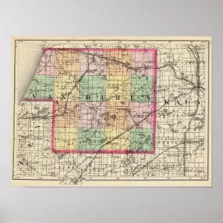 Mapa del condado de Van Buren, Michigan Póster