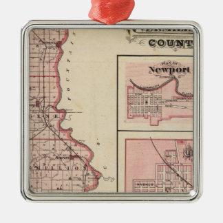 Mapa del condado de Vermillion con Newport Adorno Navideño Cuadrado De Metal