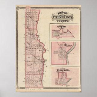 Mapa del condado de Vermillion con Newport Impresiones