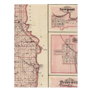 Mapa del condado de Vermillion con Newport Postal