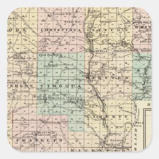 Mapa del condado de Vernon, Arcadia y de Viroqua Pegatina Cuadrada