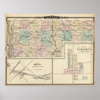 Mapa del condado de Vernon, Arcadia y de Viroqua Póster