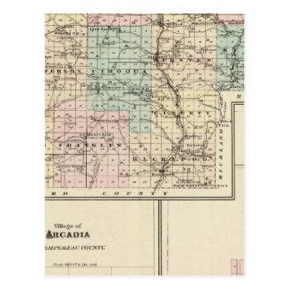 Mapa del condado de Vernon, Arcadia y de Viroqua Tarjetas Postales