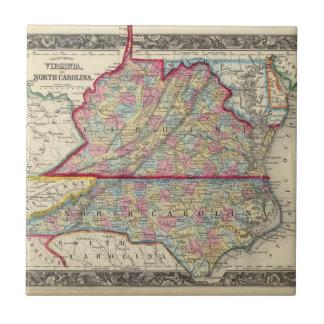 Mapa del condado de Virginia, y de Carolina del Azulejo Cuadrado Pequeño