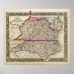 Mapa del condado de Virginia, y de Carolina del No Posters