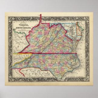 Mapa del condado de Virginia y de Carolina del No Posters