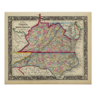 Mapa del condado de Virginia, y de Carolina del No Póster