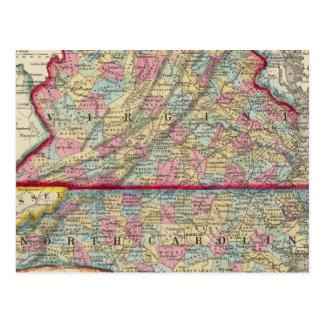 Mapa del condado de Virginia, y de Carolina del No Tarjetas Postales