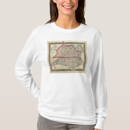 Mapa del condado de Virginia, y de Carolina del Playera