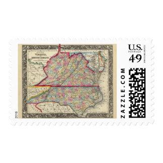 Mapa del condado de Virginia, y de Carolina del Franqueo