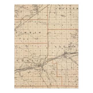 Mapa del condado de Wabash Tarjeta Postal