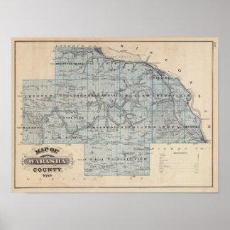 Mapa del condado de Wabasha, Minnesota Póster