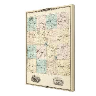 Mapa del condado de Walworth, estado de Wisconsin Lona Envuelta Para Galerías