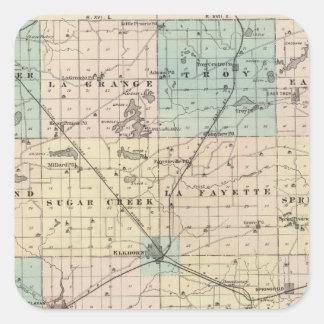 Mapa del condado de Walworth, estado de Wisconsin Calcomanías Cuadradas Personalizadas