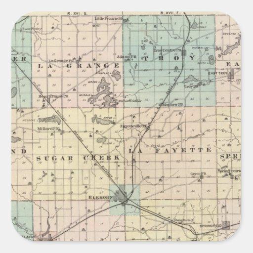 Mapa del condado de Walworth, estado de Wisconsin Pegatina Cuadrada