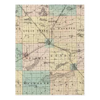 Mapa del condado de Walworth, estado de Wisconsin Postal