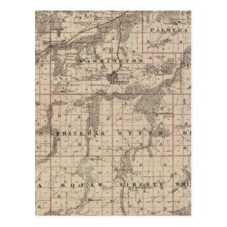 Mapa del condado de Warren, estado de Iowa Tarjetas Postales